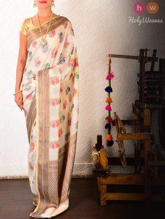 Cream Cotton Silk Cutwork Chauhara Boota Brocade Woven Saree
