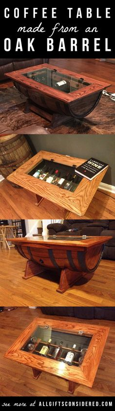 Check out this stunning coffee table made from a real oak barrel... has a glass top and hinged opening so you can store and show off you wine collection. Nice!