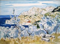 'Oliviers dans L'Île de Majorque' by Yves Brayer (1907 - 1990) Watercolour and Pencil on Paper:  46 x 62 cm Signed & Dated 1968