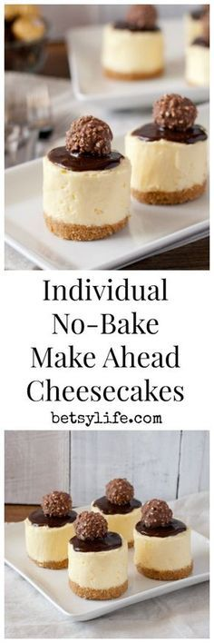 Bake Mini Cheesecakes Individual, No-Bake, Make ahead cheesecakes. The perfect dessert recipe for your Mother's Day brunchIndividual, No-Bake, Make ahead cheesecakes. The perfect dessert recipe for your Mother's Day brunch Make Ahead Desserts, Individual Desserts, No Bake Desserts, Easy Desserts, Delicious Desserts, Yummy Food, Italian Desserts, Baking Desserts, Baking Recipes