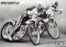 Boogaloo and Shooey Flat Track Motorcycle, Speedway Racing, Motor Scooters, Road Racing, Stunts, F1, Competition, Legends, Nostalgia