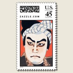 Cool oriental  japanese kabuki actor painting art postage stamps by TheGreatestTattooArt