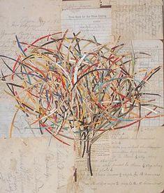 "Lance Letscher,  Persimmon Tree, 2002, 15 1/4 x 13""  Collage on Masonite"