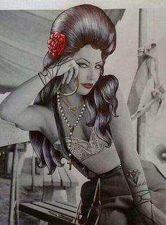 Just Kickin' Back Chicano Tattoos, Body Art Tattoos, Chicano Drawings, Guys And Girls, Pin Up Girls, Tattoo Studio, Chicano Love, Cholo Art, Chola Style