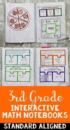 3rd Grade Interactive Math Notebook | Teach addition, subtraction, fractions, measurement, and more! | Common Core Aligned