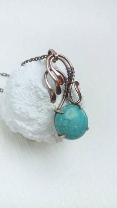 Turquoise necklace Wire wrapped jewelry Simple wirewrap