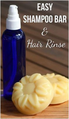 Easy Shampoo Bar & Hair Rinse – Tweak and Tinker This cold process soap recipe is an easy, simple and all natural shampoo bar. It uses essential oils to gently cleanse and the hair rinse will help your hair shine after washing. How To Make Shampoo, Diy Shampoo, Homemade Shampoo, Solid Shampoo, Natural Shampoo, Shampoo Bar, Homemade Conditioner, Natural Soaps, Homemade Facials