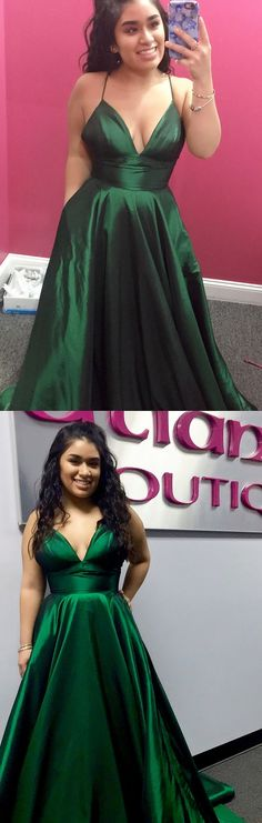 straps v neck green long prom dress, party dress, cheap prom dress P3138