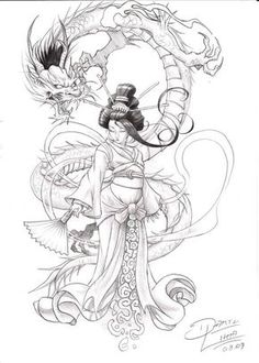 Ninja and geisha design, request work. concept: a who ninja protects his lover, the geisha, anytime, anywhere. Japanese Dragon Tattoos, Japanese Tattoo Art, Japanese Art, Japanese Kimono, Tatoo Art, Body Art Tattoos, Sleeve Tattoos, Tattoo Ink, Geisha Tattoo Sleeve