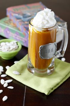 Harry Potter Pumpkin Juice Recipe -- I like using mango or nectarine nectar, FYI. It tastes better.