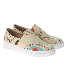 Tan Precious Lines Leather Slip-On Sneaker