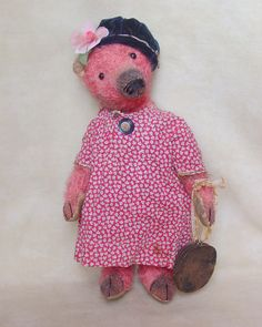 "15"" French Fashion Bear. Vintage dress and trims. Brady Bears Studio."