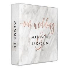 White Marble & Rose Gold Wedding Photo Album 3 Ring Binder - rose gold style stylish diy idea custom