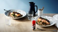 Miso grilled salmon with soba noodles & ginger dressing Easy Salmon Recipes, Pork Recipes, Seafood Recipes, Asian Recipes, Healthy Recipes, Brunch Recipes, Healthy Meals, Easy Recipes, Kitchens