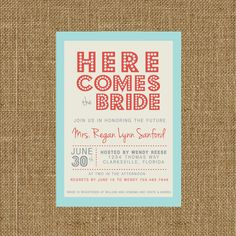 Here Comes the Bride, Bridal Shower Invite [Digital File Only] by AmpersandPaperCo1 on Etsy