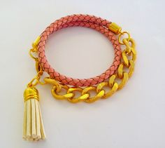 happy girly crafty: Chain and leather wrap bracelet DIY! / Φτιάξτο μόνη σου : Δερμάτινο βραχιόλι με αλυσίδα!