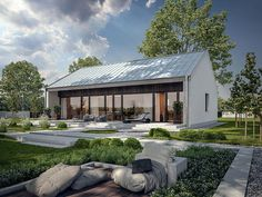 Projekt domu Murator C365a Przejrzysty - wariant I 92 m2 - koszt budowy 209 tys. zł - EXTRADOM Barn House Plans, Small House Plans, Modern Bungalow House, Coffee Shop Design, Modern Barn, Metal Buildings, House Extensions, Cabin Homes, House Colors