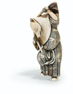 Netsuke d'une renarde dansante en ivoire attribué à Gechu d'Osaka Japon, XVIII<sup>E</sup> siècle | Lot | Sotheby's