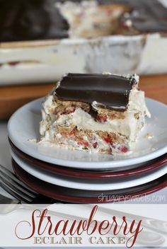 Strawberry Eclair Cake: a delicious, no bake dessert with strawberries, chocolate, grahams and pudding! #iceboxcake @Shugary Sweets