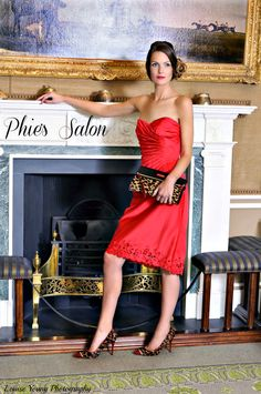 hair and makeup by Phie's Salon party season christmas red dress hair up side style