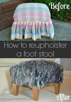 How to Reupholster a Foot Stool {with hot glue}  At Home with The Barkers Blog