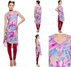 Carry your confidence with #LylaFashion sleeveless silhouette of lively mauve flowers with blue leaves. Embroidered yoke, gotta patti work sleeveless body , silhouette - asymmetric with side slit.  Fabric: Cotton Color: Mauve Sizes: XS, S, M, L,  Price: 1199