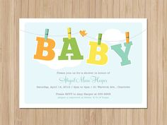 Printable DIY Clothespin and Line Baby Shower Card