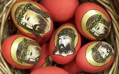 Traditional Orthodox Easter eggs painted with the image of Jesus Christ are displayed at Bucharest's Peasant Museum during a Palm Sunday fair, where hundreds of artisans from all over Romania gathered to show and sell their goods April 3, 2004.
