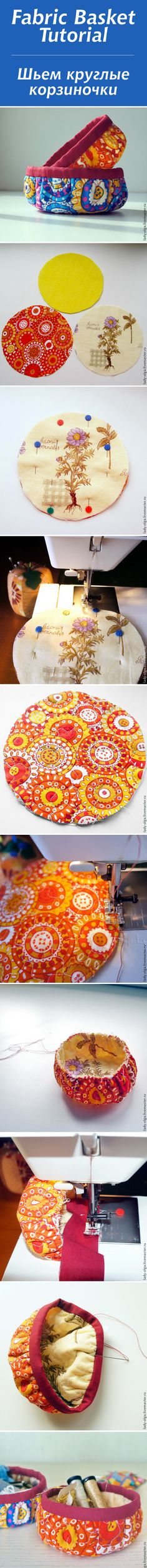 We sew round baskets / fabric basket tutorial . Easy Sewing Projects, Sewing Hacks, Sewing Crafts, Fabric Basket Tutorial, Quilting, Fabric Bowls, Origami, Round Basket, Sewing Baskets