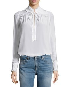 Ruffled-Trim Long-Sleeve Blouse, Star-Embellished Denim Jacket & Five-Pocket Skinny Jeans