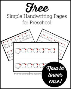 simple handwriting pages for preschool in uppercase and lowercase - the measured mom