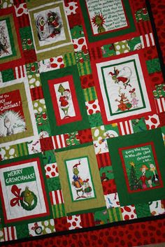My Grinch Christmas Quilt: http://justletmequilt.blogspot.com/2012/01/grinch-christmas-quilt.html