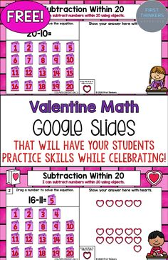 Fun subtraction games and activities will make your 1st grader's Valentine's Day the best! Download this FREE Google Slides game to celebrate the holiday and have your students engaged in math practice!