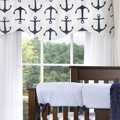 Shop Nautical Baby Bedding, Curtains, Valances and Custom Baby Bedding in Anchors by Liz and Roo. Ideal for the Nautical Themed Nursery. Made in USA. Nautical Baby Bedding, Baby Blue Nursery, Custom Baby Bedding, Baby Nursery Bedding, Nautical Nursery, Coastal Nursery, Crib Sets For Boys, Valences For Windows