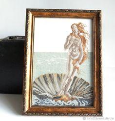 репродукция картины Рождение Венеры, фрагмент, ручная вышивка крестом – купить в интернет-магазине на Ярмарке Мастеров с доставкой