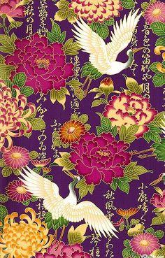 Cranes & Peonies - Iris Purple/Gold I used this print fabric to make a kimono style dress Japanese Textiles, Japanese Patterns, Japanese Prints, Japanese Fabric, Japanese Style, Art Asiatique, Art Japonais, Asian Design, Japan Art