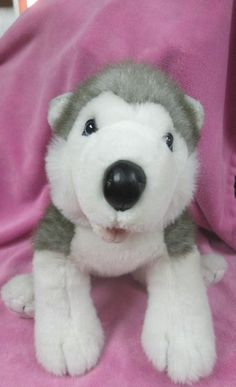 "Build-A-Bear Workshop SIBERIAN HUSKY 14"" Wolf Puppy Dog BARKING Plush #AllOccasion"