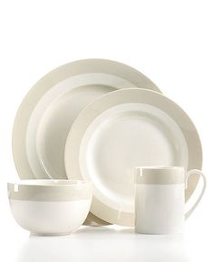 Martha Stewart Collection Dinnerware, Classic Band Grey Collection - Casual Dinnerware - Dining & Entertaining - Macy's