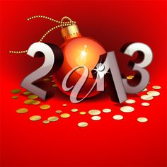 iCLIPART - New year 2013 with numbers and bauble