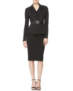 Knit Cardigan Jacket, Sleeveless V-Neck Drape Top, Wide Leather Snap Belt & Pull-On Knit Pencil Skirt by Donna Karan at Neiman Marcus.