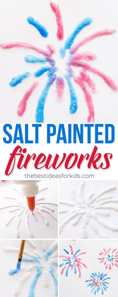 These salt painted fireworks are so fun to make as a July kids craft! Firework Salt Painting July kids activities is easy and fun to do! Salt Painting fireworks is something preschoolers and toddlers will love to do! 4th July Crafts, Fourth Of July Crafts For Kids, Patriotic Crafts, Fun Crafts For Kids, Toddler Crafts, Preschool Crafts, Projects For Kids, Art For Kids, Activities For Kids