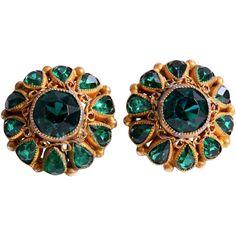 Clip Earrings, Emerald Green, Vintage Jewelry, Costume, Accessories, Vintage Jewellery, Costumes, Fancy Dress, Costume Dress