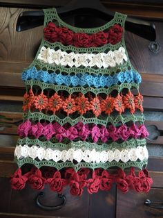crochet flower motif tunic