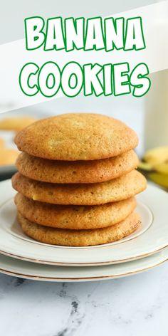 Banana Cookie Recipe, Banana Bread Cookies, Banana Dessert Recipes, Easy Cookie Recipes, Banana Bread Recipes, Cookie Desserts, Easy Desserts, Roll Cookies, Cookies Et Biscuits