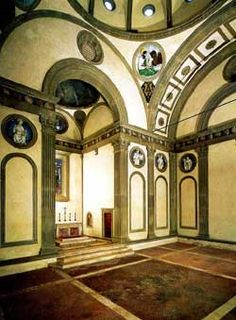 Pazzi Chapel Interior. (s)   Brunelleschi died on April 15th 1446 and is buried in Santa Maria del Fiore (Florence Cathedral) his legacy is that for five hundred years architects from America and Europe followed in his footsteps.