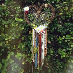 Hippie Heart Dreamcatcher, Floral, Lace, Beads, Colorful, Rainbow, Bohemian, Cottage Chic, Wreath, Handmade, Wall Hanging, Home decor