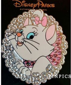 Disney Aristocats White Kitten Marie Flowers and Jewels New on Card Pin