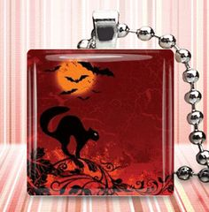 HalloweenHalloween JewelryBlack Cat Bats Moon by goddessglass10359