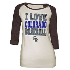 Colorado Rockies Women's I LOVE BASEBALL Wide Scoop Raglan T-Shirt