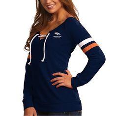 Women s Denver Broncos Antigua Navy Blue Foxy Lace-Up Sweatshirt a1f8526081
